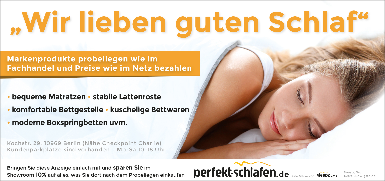 Anzeige Perfekt Schlafen